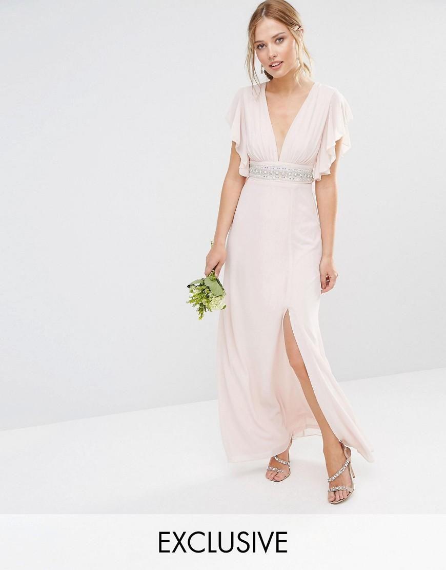Tfnc tfnc wedding fluted sleeve embellished waist maxi dress at