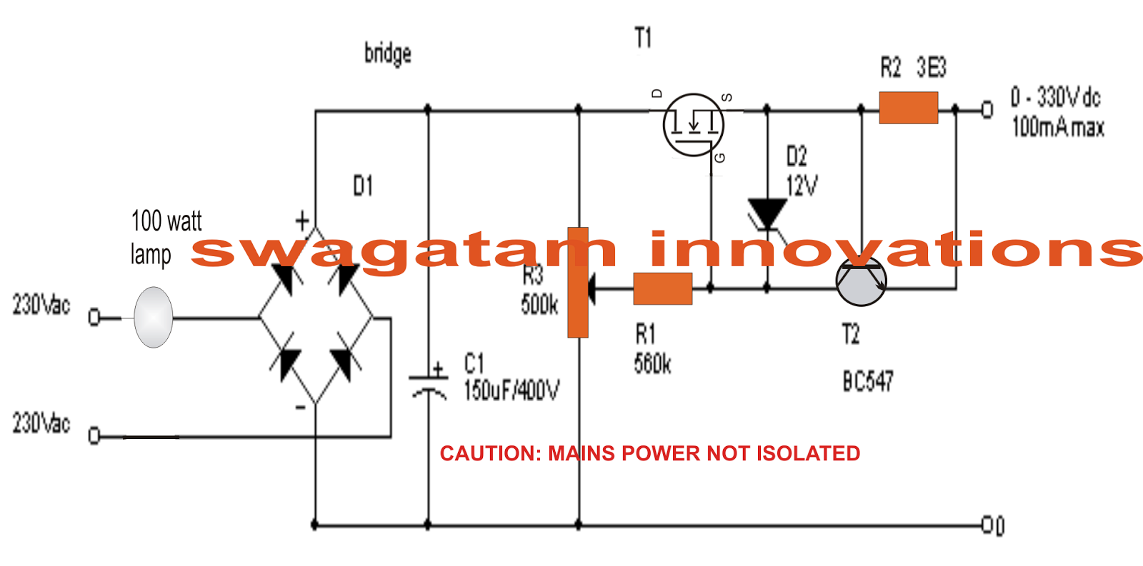 The Post Explains A Simple Transformerless Zero To 300 Volts 2 Lamp Flasher Using Mosfet Variable Voltage And Current Power Supply Circuit Which Can Be Used For Many Different