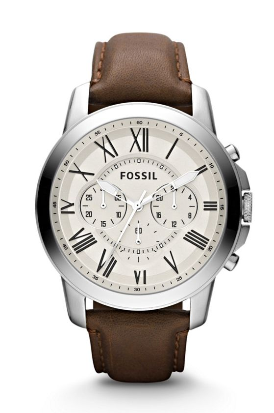 7fcd3962629d Fossil Grant Chronograph Brown Leather Watch