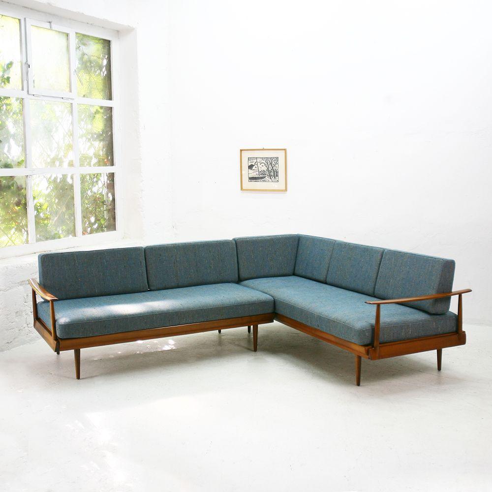 German Walnut Corner Sofa And Daybed From Knoll Antimott 1960s 3 Corner Sofa Design Corner Sofa Mid Century Corner Sofa