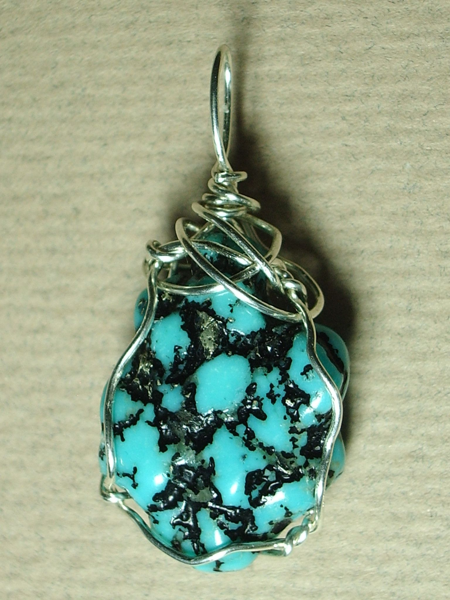 Turquoise Nugget Pendant Wire Wrapped .925 Sterling Silver | Wire ...