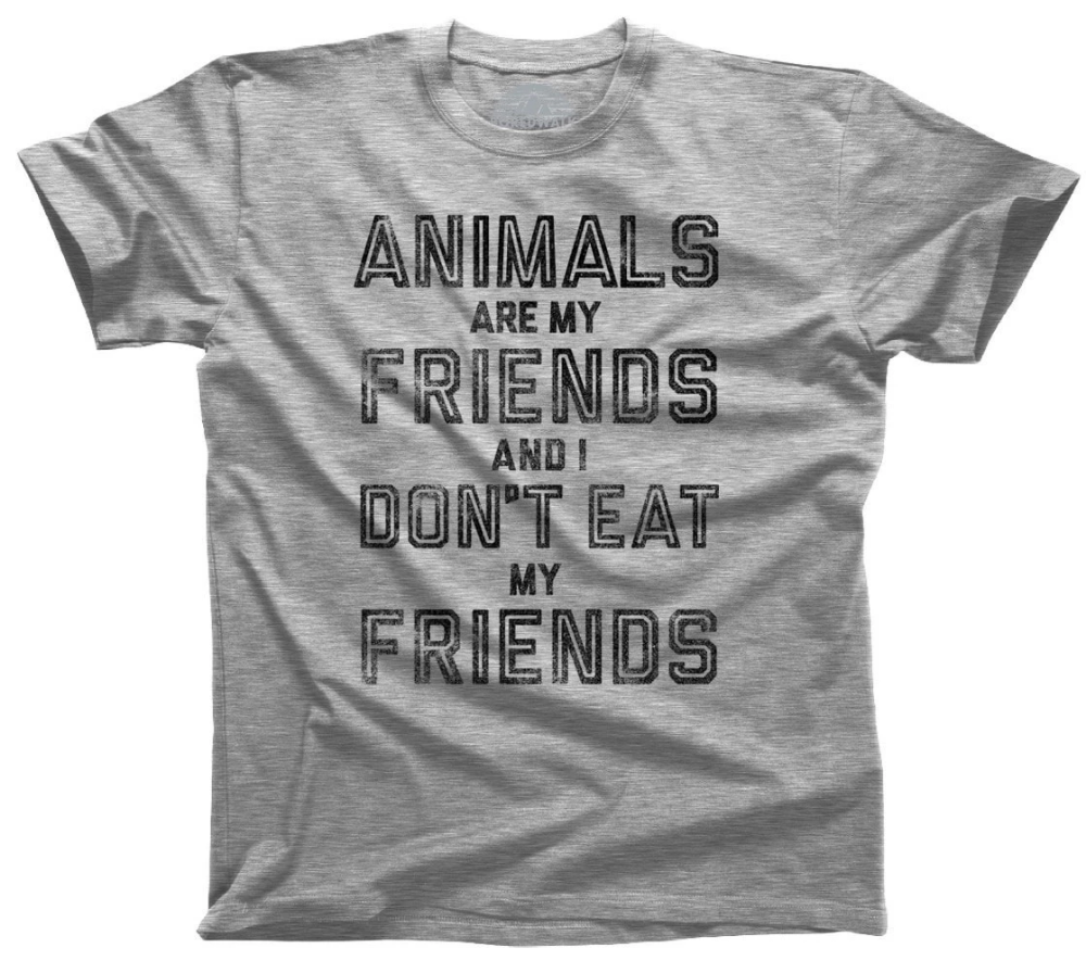 Men's Animals Are My Friends And I Don't Eat My Friends Vegetarian Quote T-Shirt #vegetarianquotes