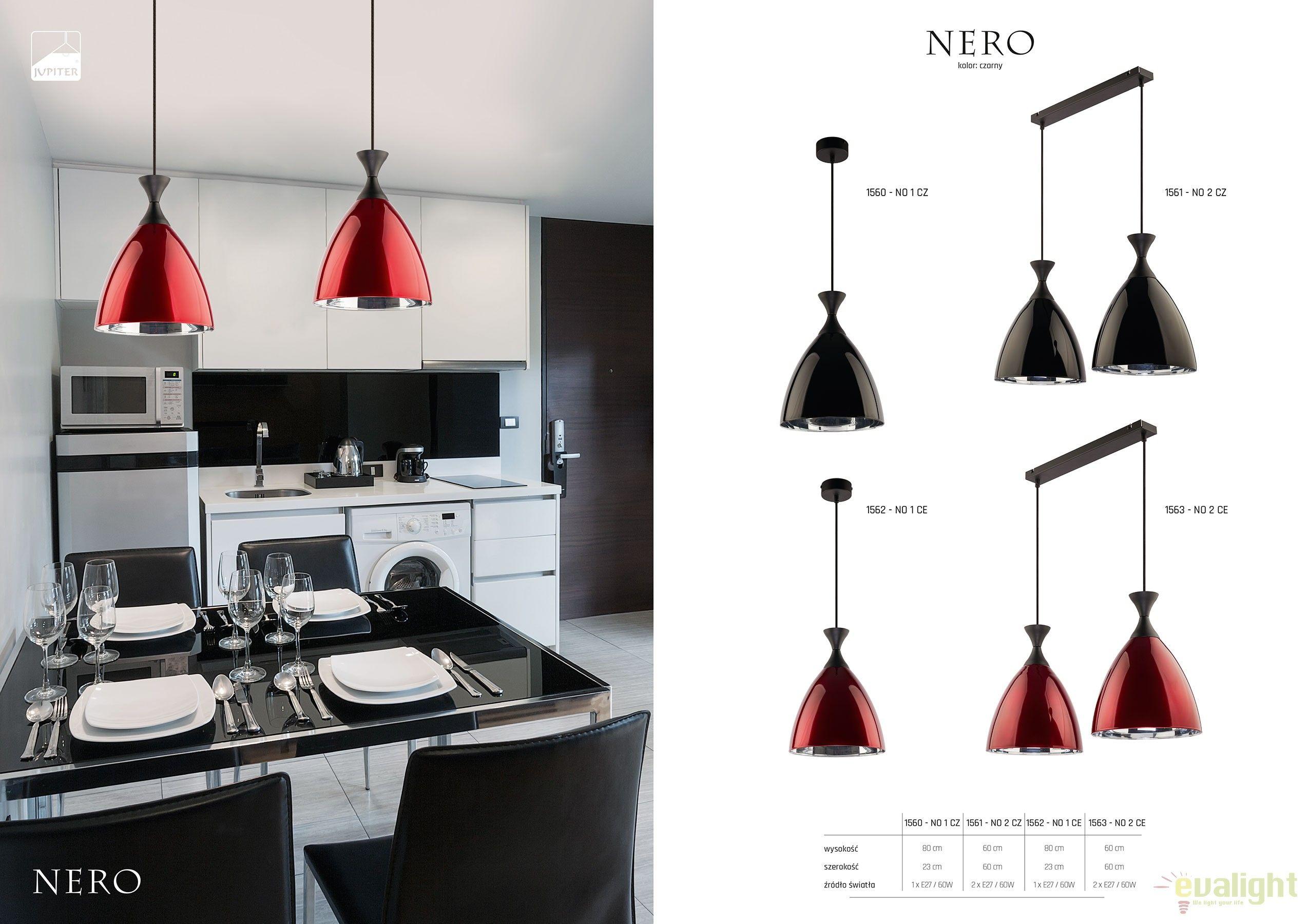 Lustra design modern cu abajur din sticla nero rosu no ce