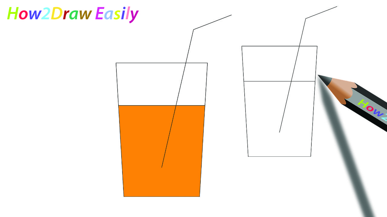 Orange Juice Glass Drawing & Coloring.
