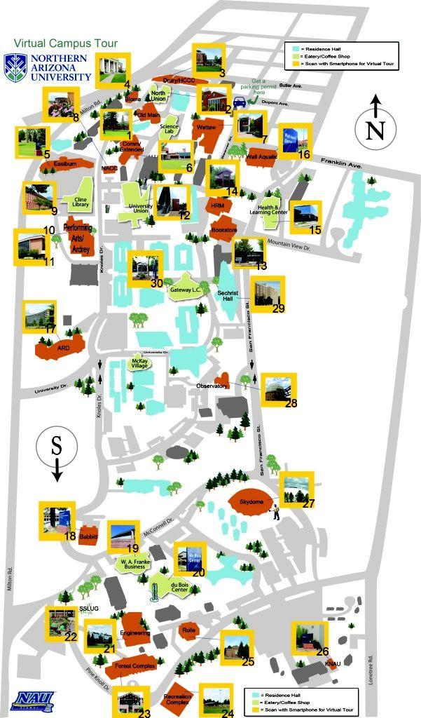Map Of North Arizona.Northern Arizona University Reid Nau Northern Arizona