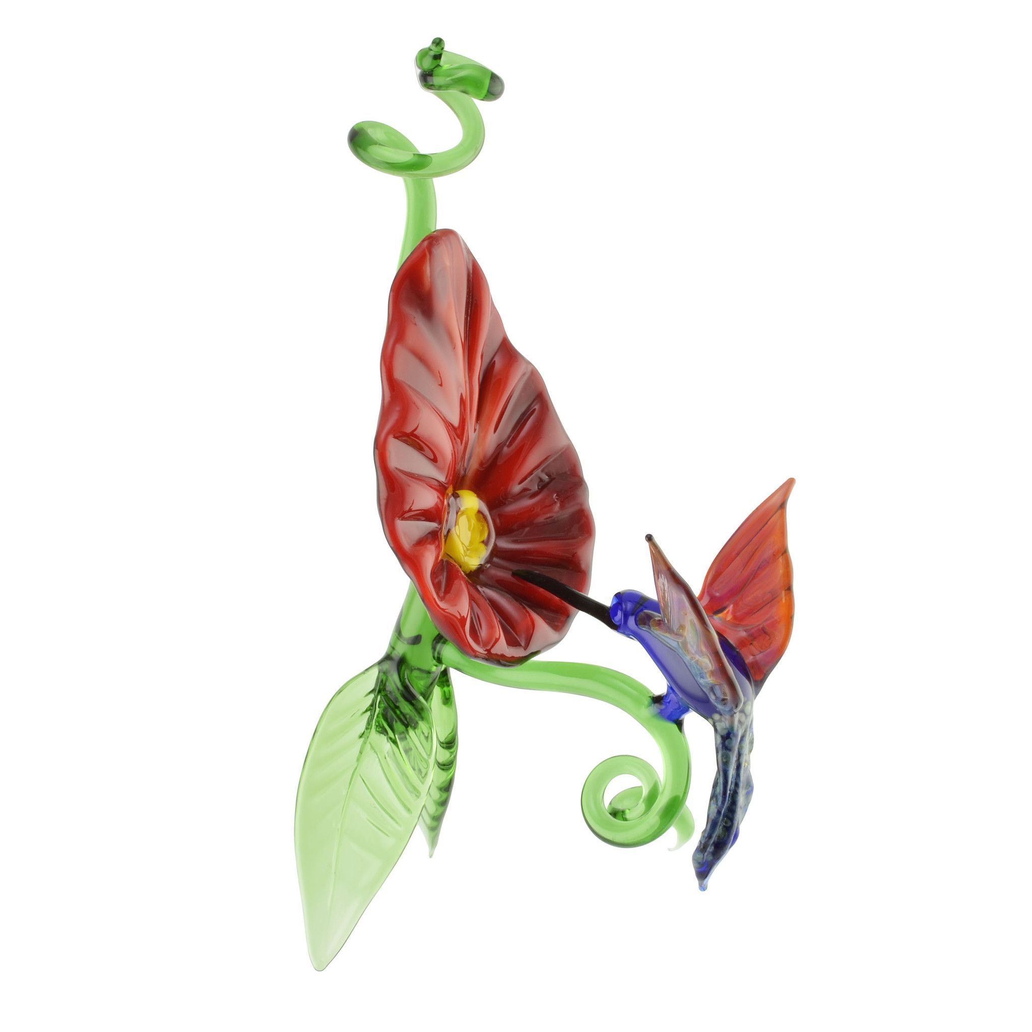 Labrie Glass Hummingbird and Flower Ornament