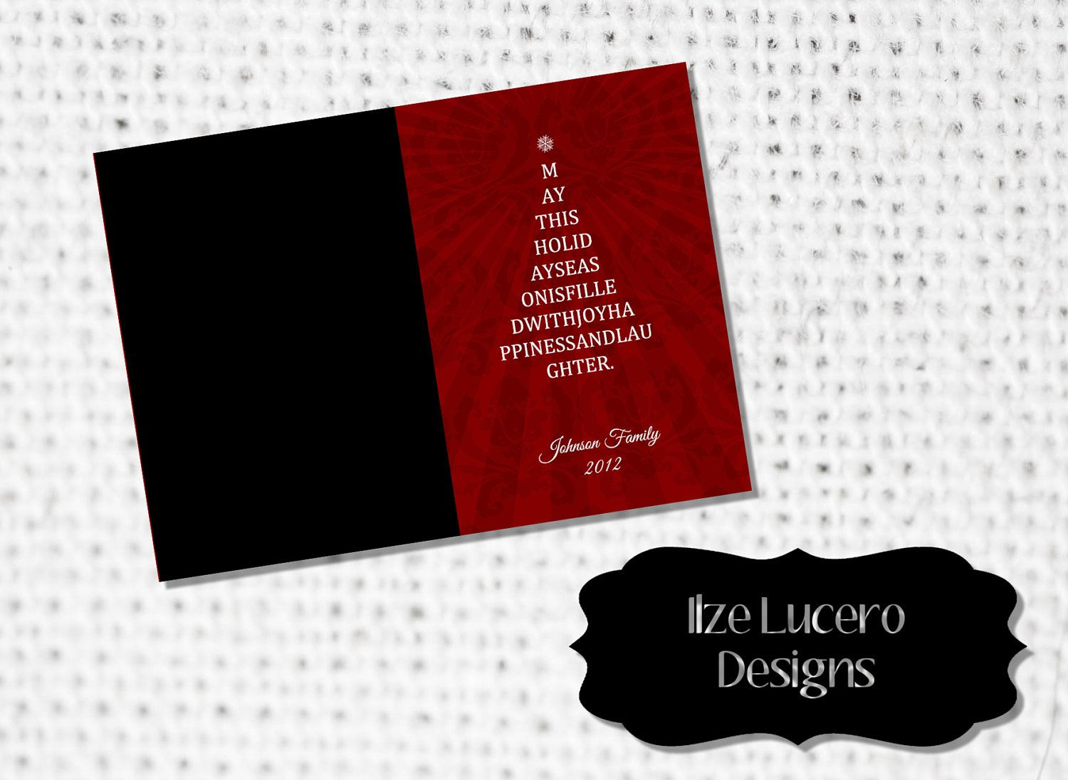 Be Merry Christmas 5X7in digital Photoshop card template PSD. $3.99 ...