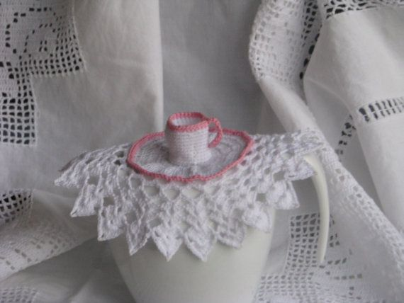 Pink and white crocheted milk jug cover by handmaidbyjane on Etsy