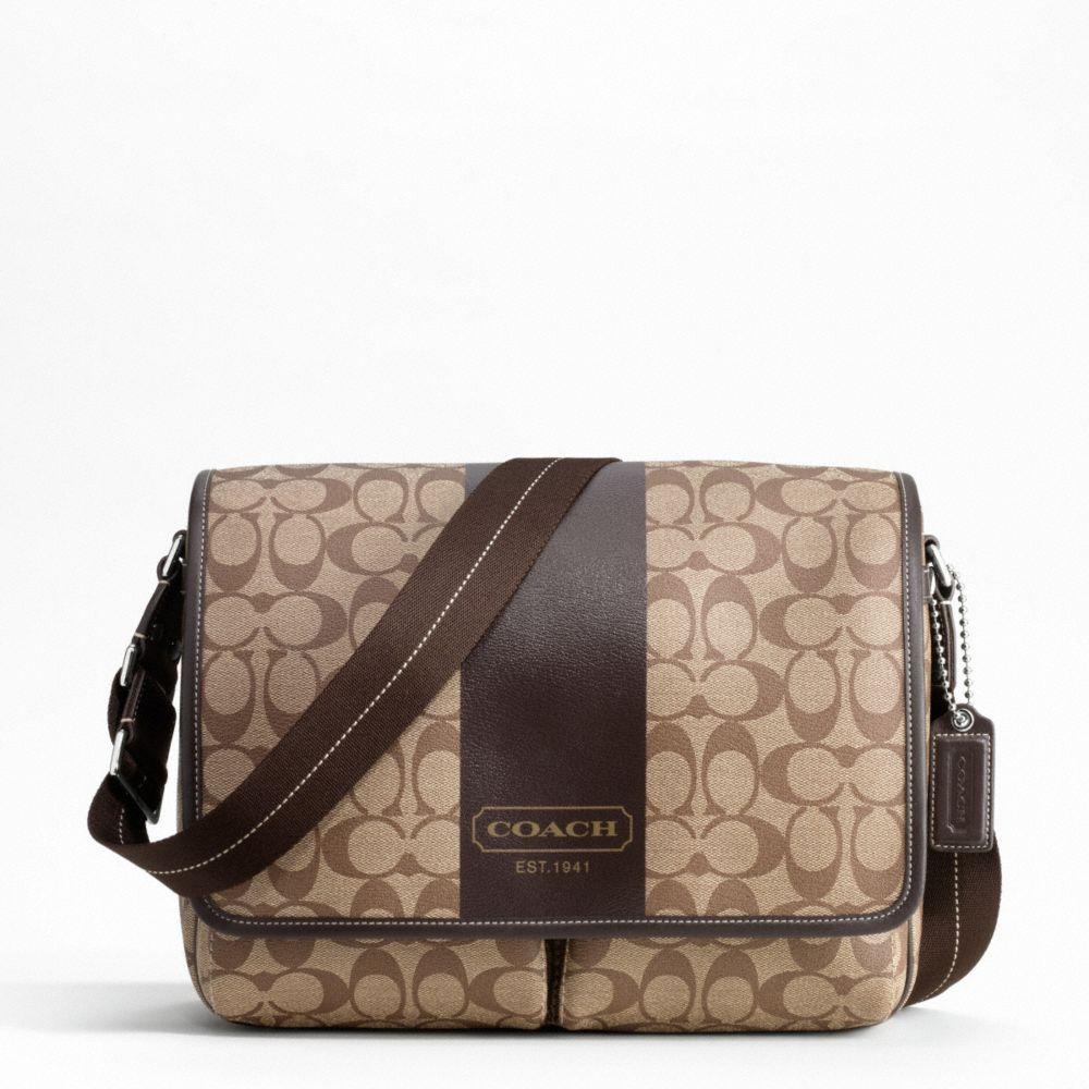 designer handbags coach 6hcw  Coach Designer Handbag Brown Heritage Stripe Messenger Bag #Coach  #designerbags #handbags #ladies