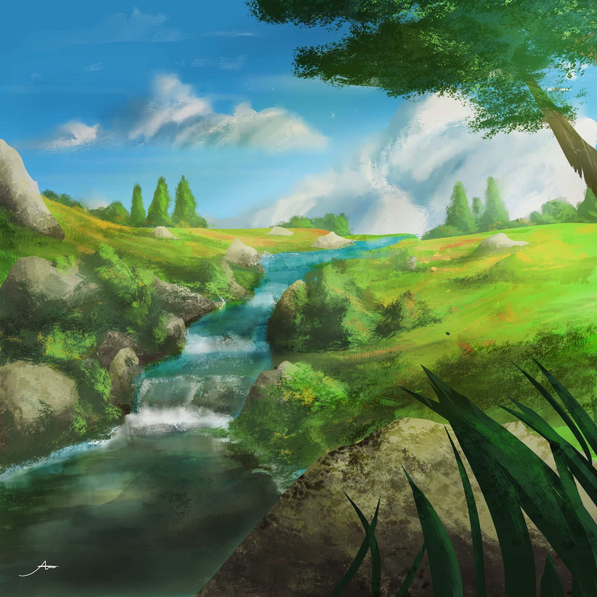 Green Field With Small River Green Landscape River Calm