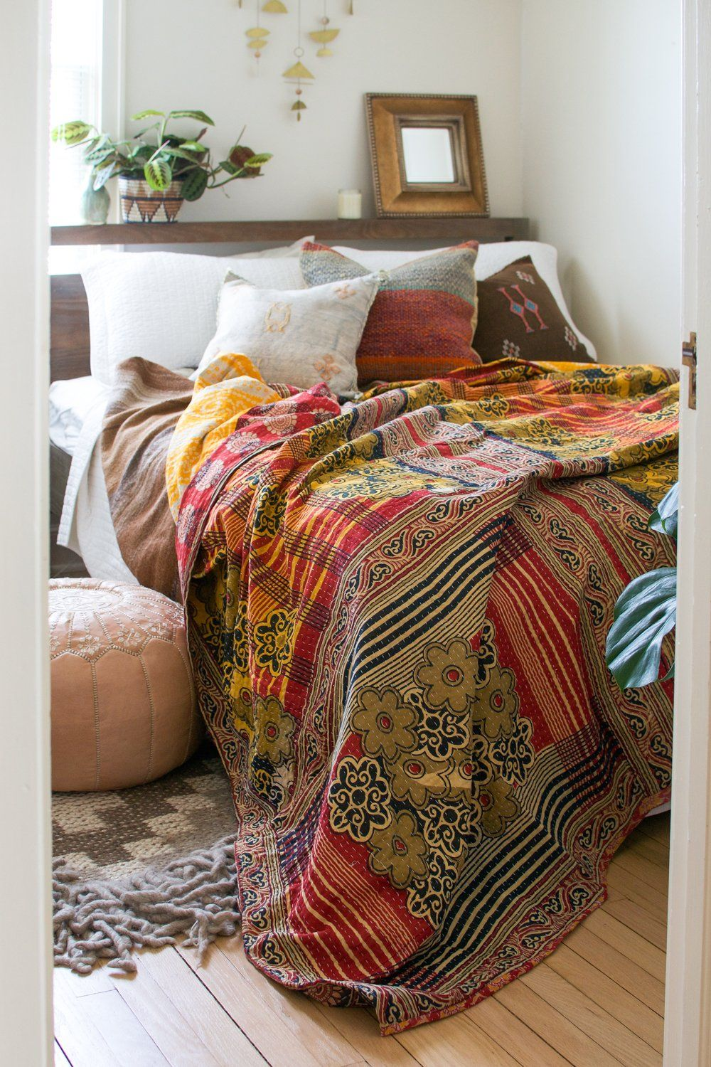 Vintage Kantha Quilt III  Bedroom decor on a budget, Vintage