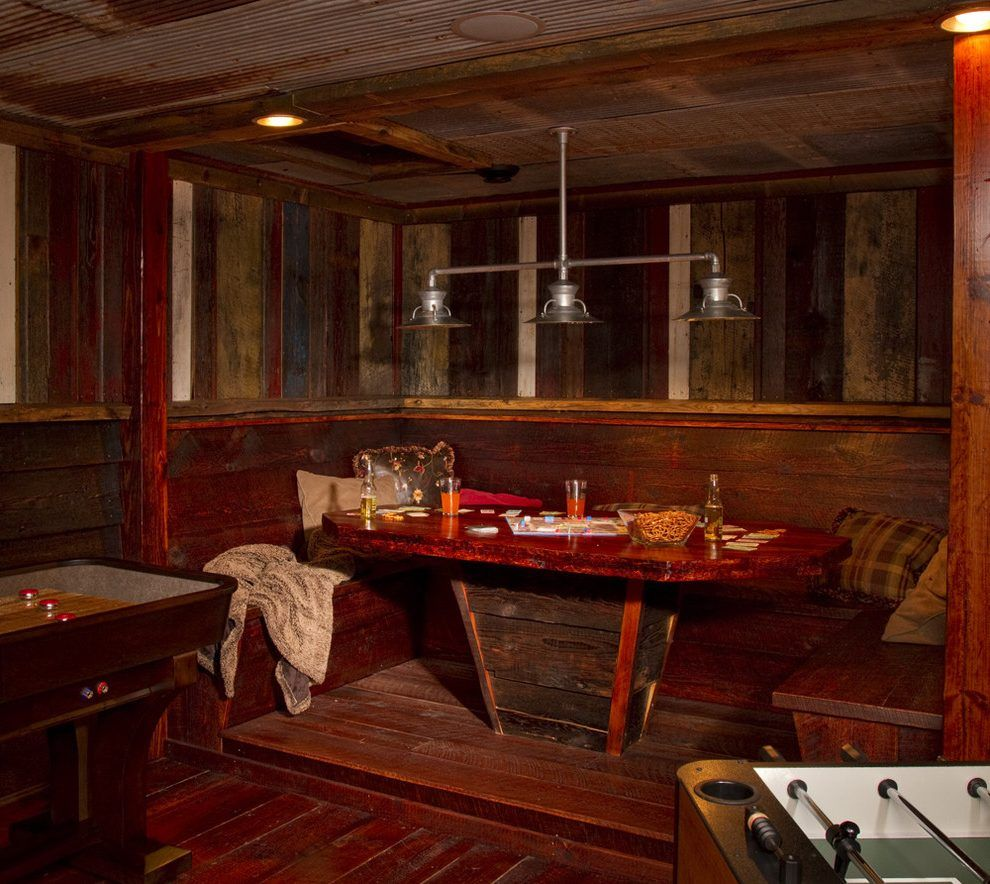 English Pub Home Bar Design: Irish Pub Booth Basement Rustic With Booth Traditional