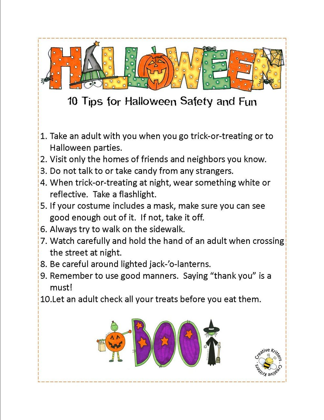 Creative Kritters Halloween Safety Tips