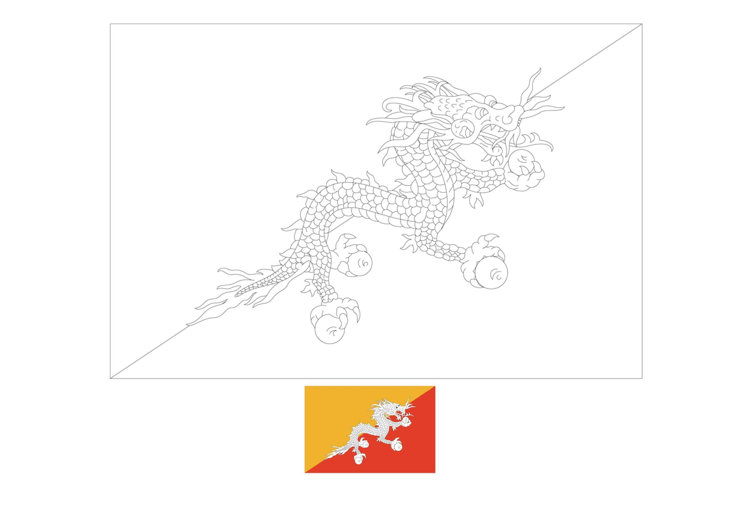 Bhutan Flag Coloring Page Flag Coloring Pages Coloring Pages