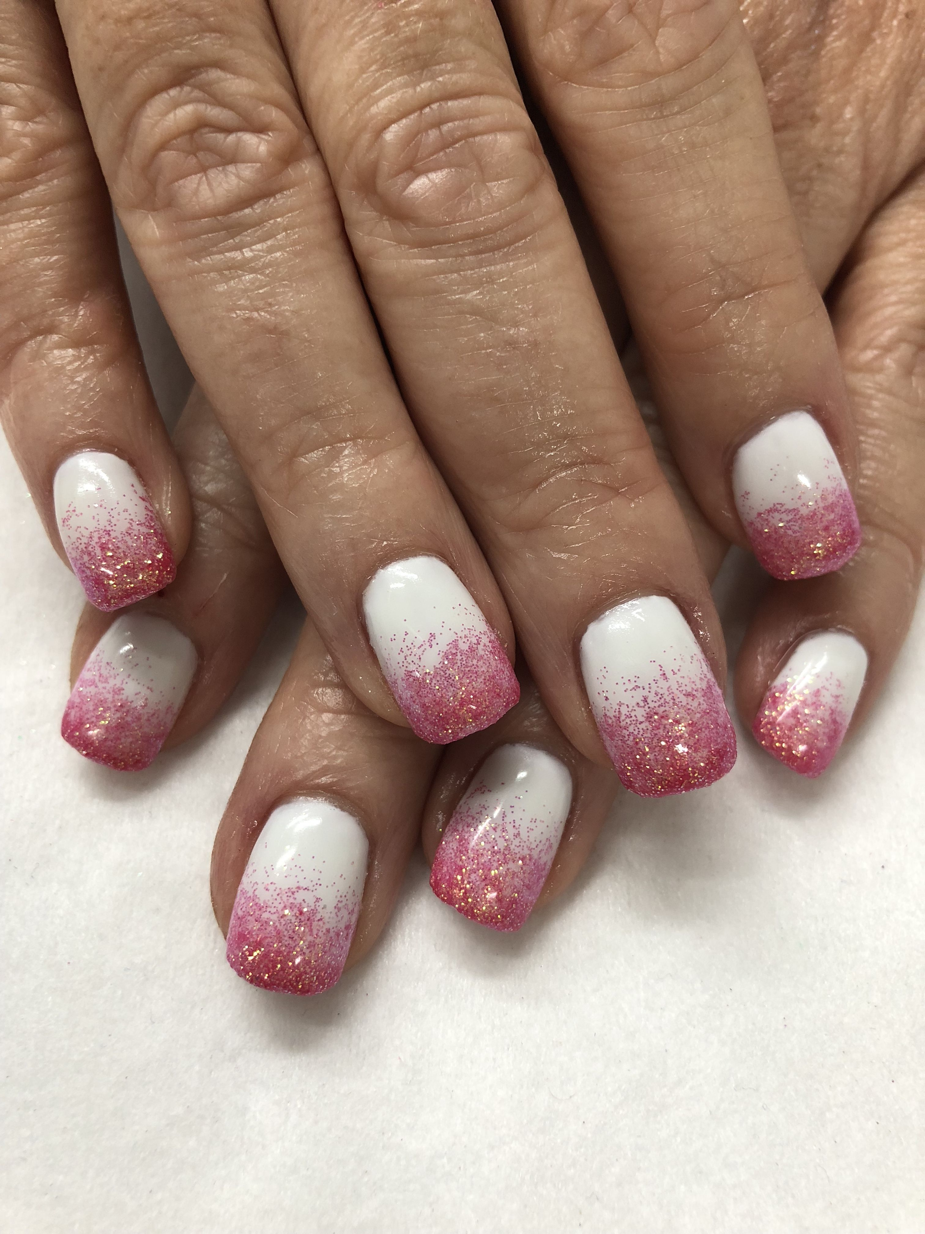 Pink Coral Glitter Ombre Summer Vacation Gel Nails Glitter Gel