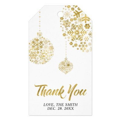 Modern Gold Winter Party Thank You Gift Tags In 2018 Winter