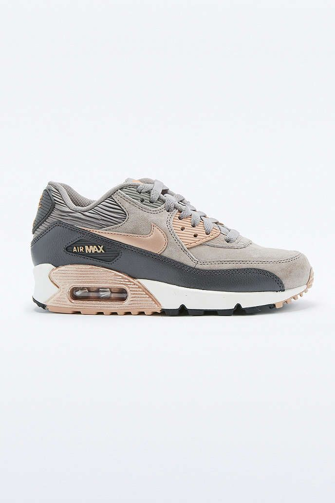 nike air max 90 premium grey and bronze leather trainers