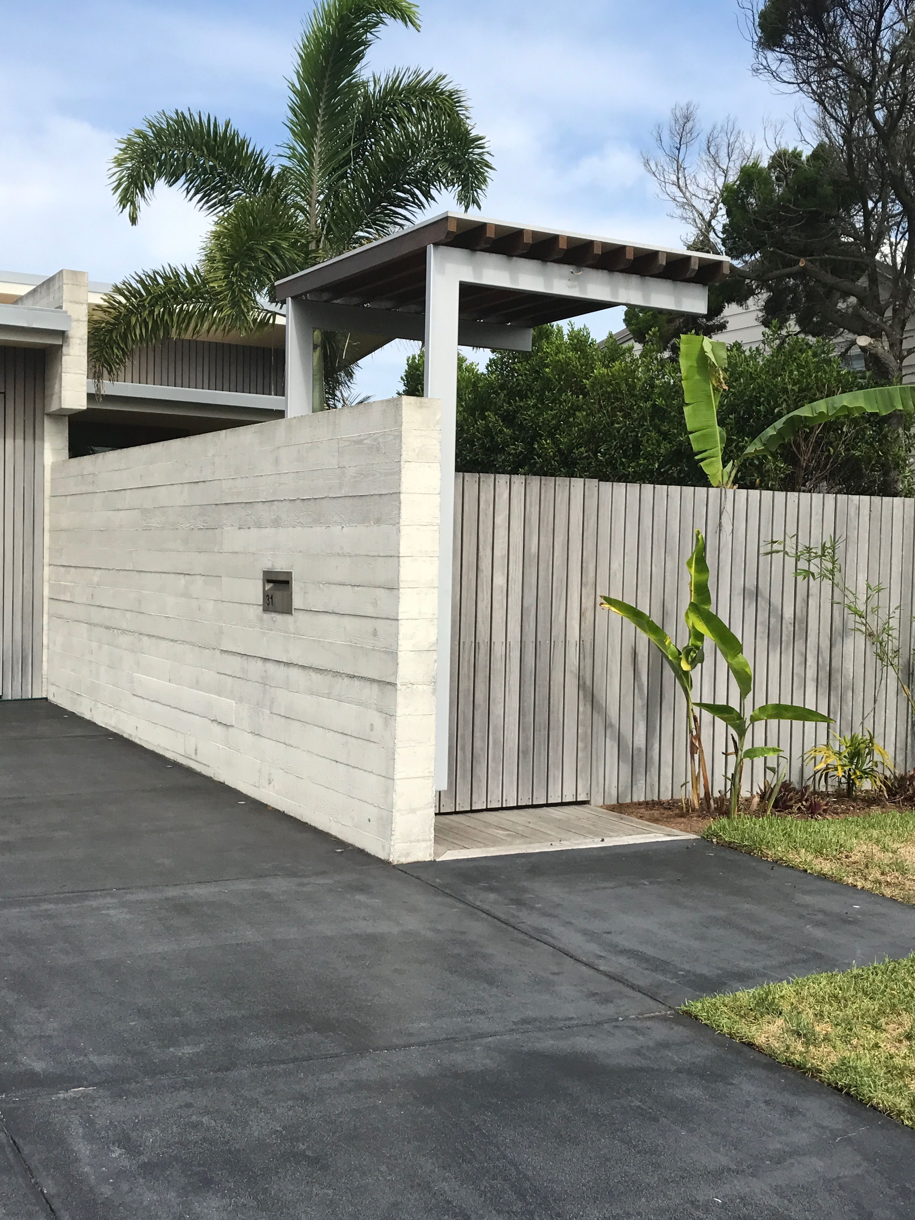 Fence Concrete With Timber ( Grey Or White) And Dark