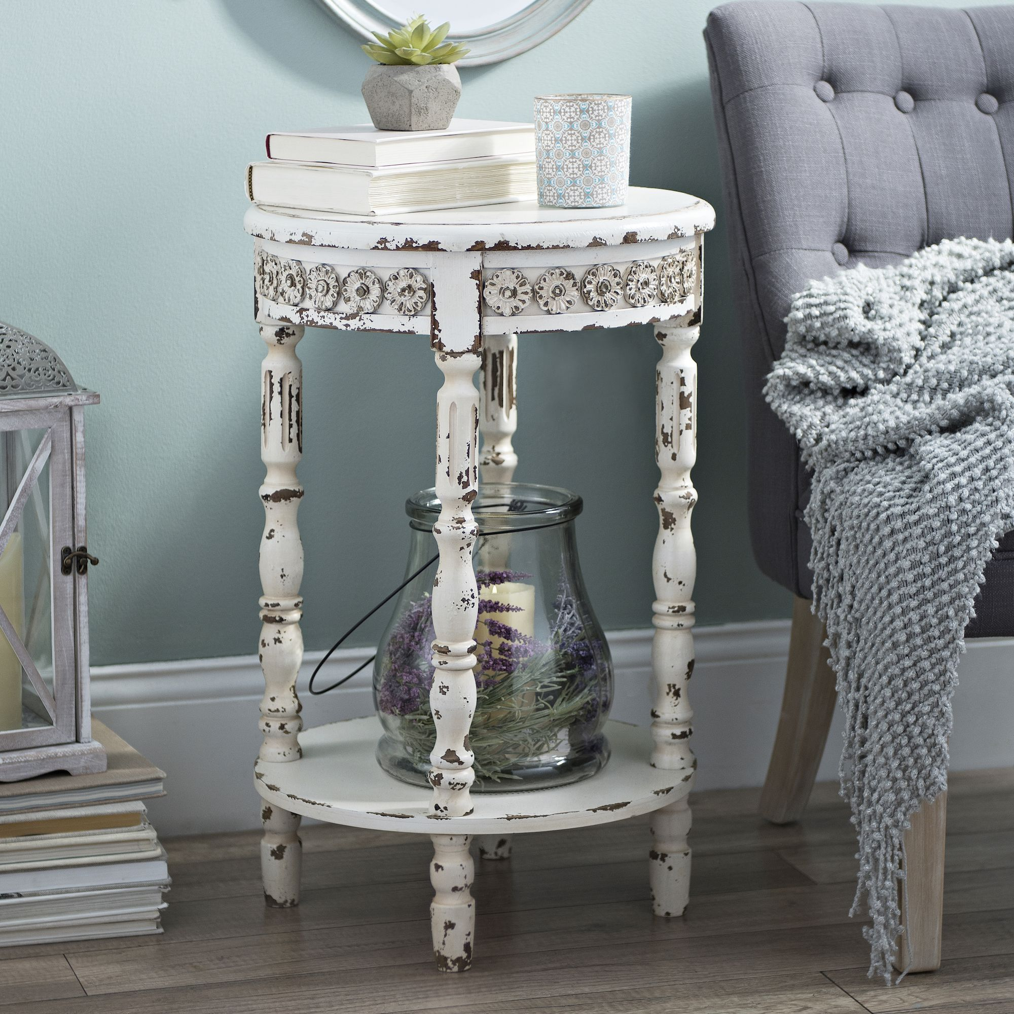 Vintage White Medallion Round Accent Table Accent Table Decor