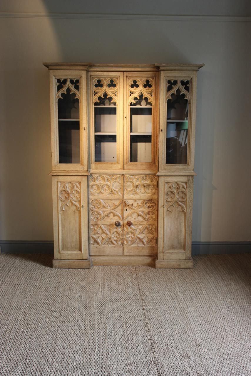 C19th Bleached Oak Gothic Bookcase of Small Proportions