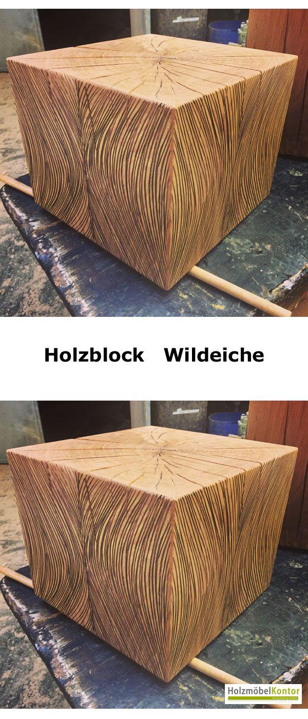 Holzblock Wildeiche Von Holzmoebelkontor De Couchtisch Mit Design Die Naturliche Schonheit Massiver Eiche In Kombination Mit Kunstler Holzblocke Holz Eiche