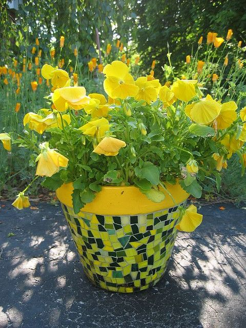mosiac flower pot with matching pansies.