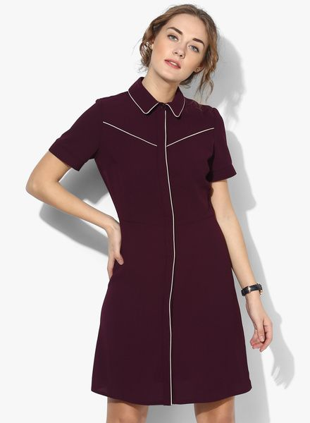 f6191c65b0b8 Buy Dorothy Perkins Wine Coloured Solid Shift Dress for Women Online India