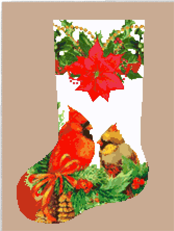Christmas stocking red cardinal 845 modern cross stitch