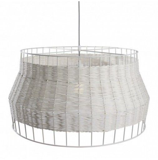 Blu dot laika large pendant light coastal beachy lighting wicker lampshade frame white