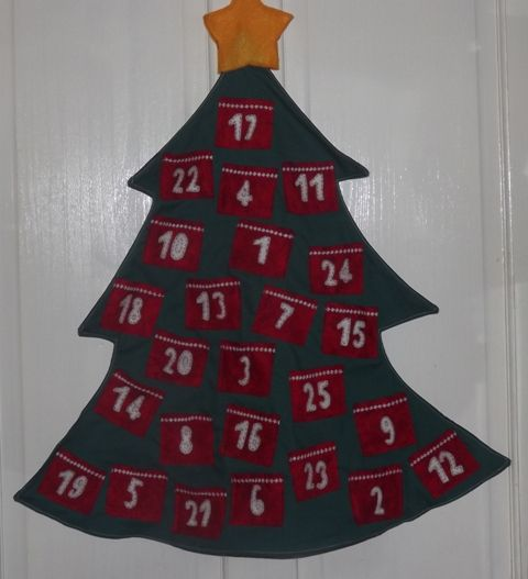 Handsewn tree advent calender - perfect for giving toys rather than chocolate to little ones.