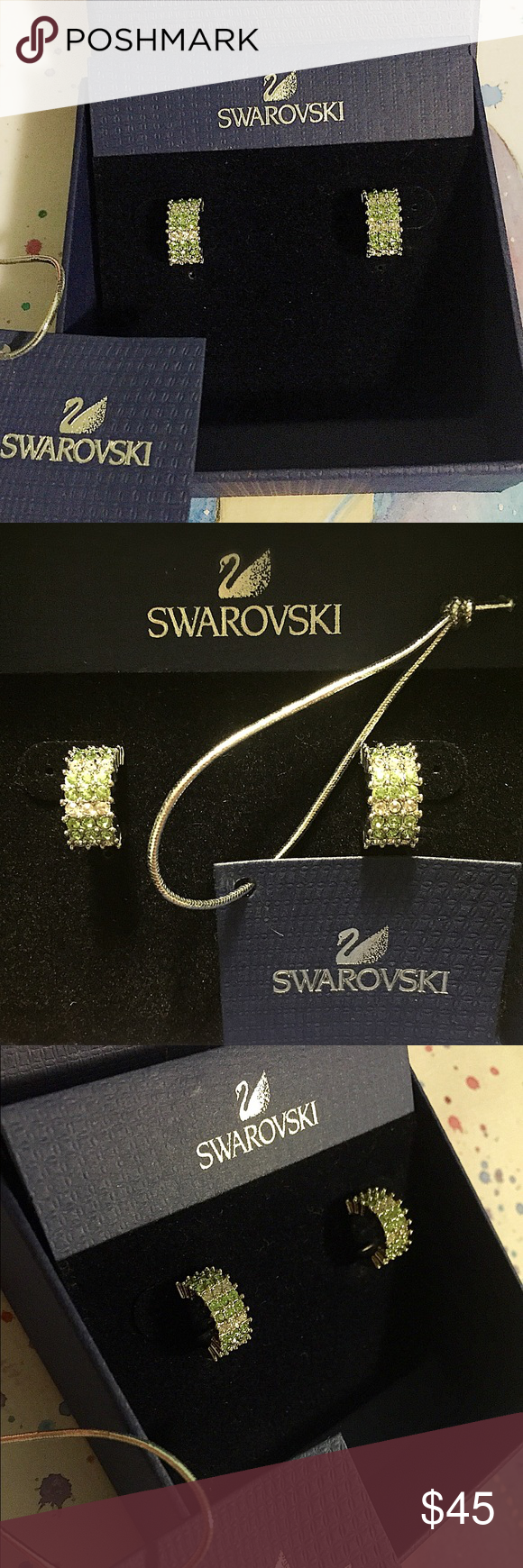 "Auth. Swarovski Earrings! Gorgeous Authentic Swarovski Stud Earrings! Sterling Silver. Only worn once for a wedding, in perfect ""like new"" condition. Last picture shows the Swarovski Swan stamp, which is on the back of both earrings. Comes with original box. Swarovski Jewelry Earrings"