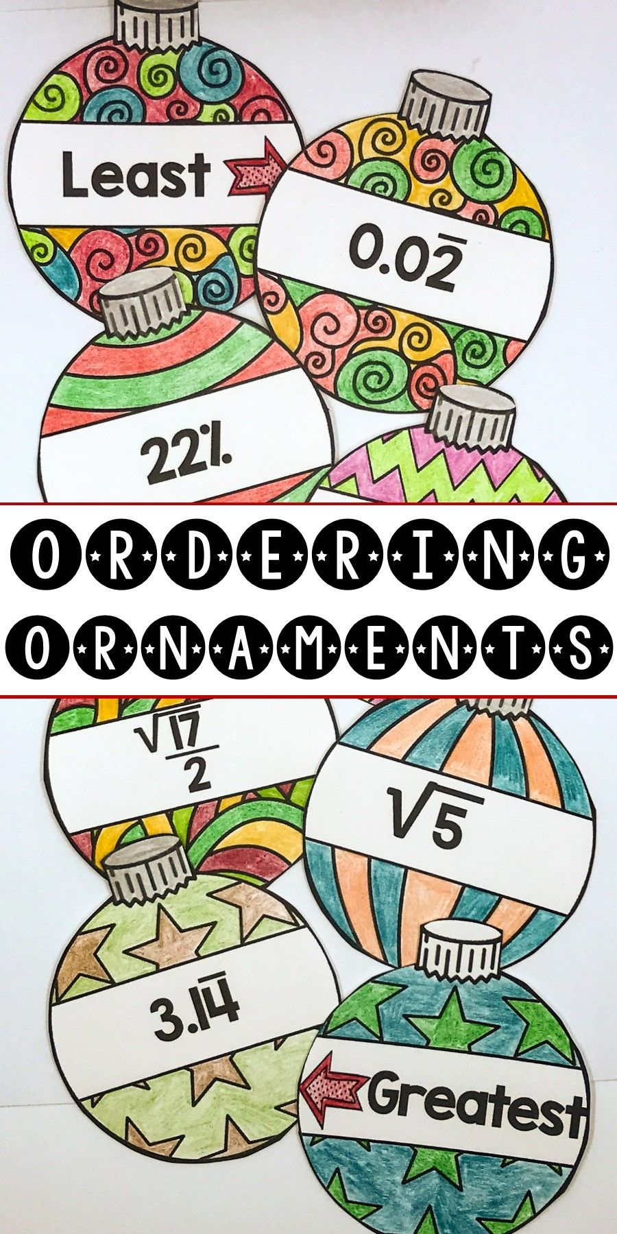 Ordering Ornaments - A Christmas Math Activity for Ordering Real ...