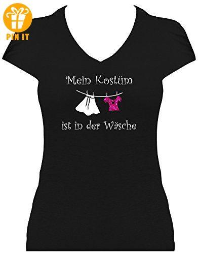 elegantes Damen Shirt GLITZERAUFDRUCK Spruch Mein Kostüm ist in der Wäsche T -Shirt Karneval Fasching , T-Shirt, Grösse L, schwarz - T-Shirts mit Spruch  ...