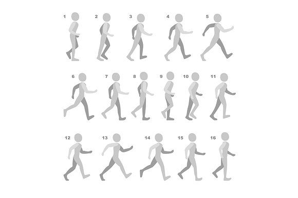 Phases Of Step Movements Walking Animation Animation Art Character Design Frame By Frame Animation