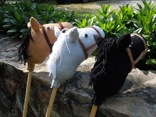 Stormy Dawn is the fastest hobby horse in town. A simple pattern which is knit in the round, it is very similar to a sock. The ears are also knit in the round which enables them to stand straight up, and the only seaming is stitching them to the head. The bridle, eyes, mane, and blaze can be customized using any materials you like.