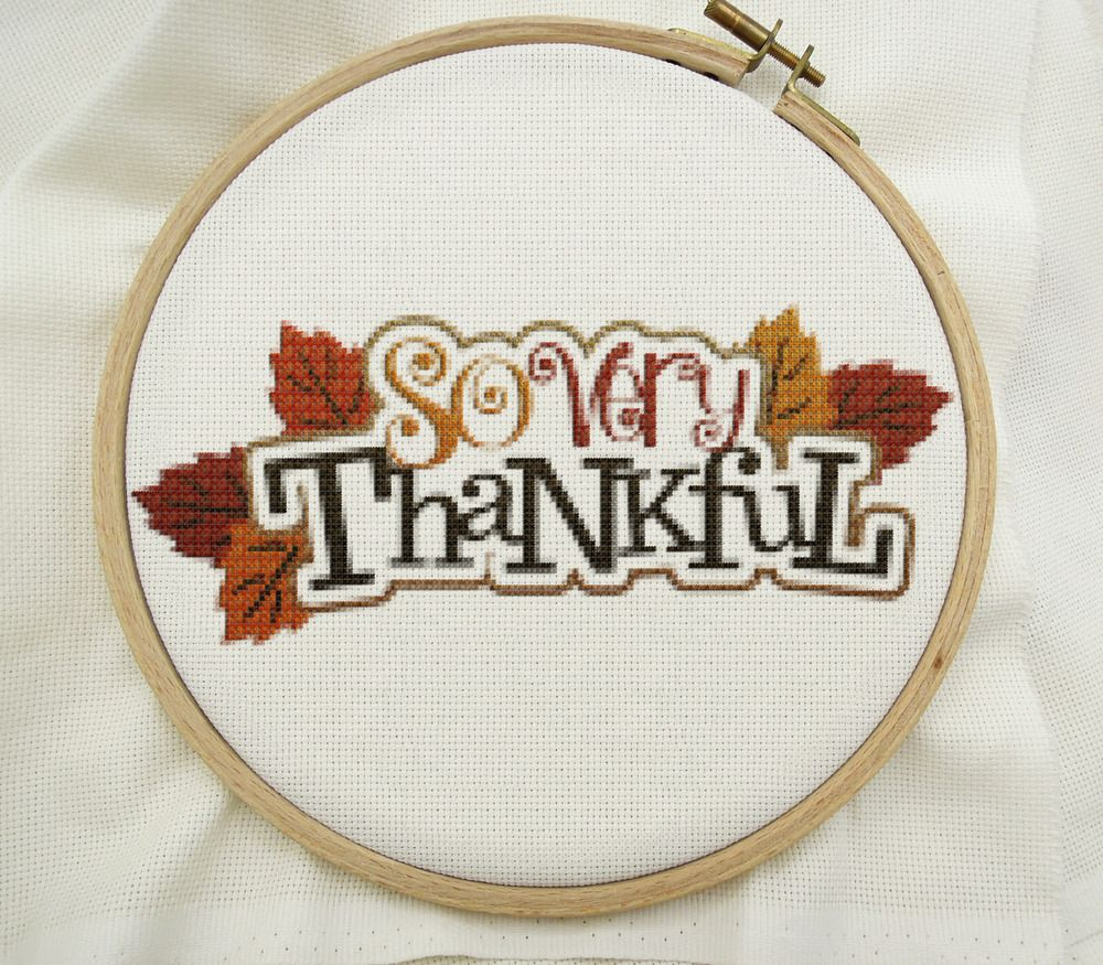 Thanksgiving Cross Stitch Embroidery Pattern Home Decor Gift 14 ...