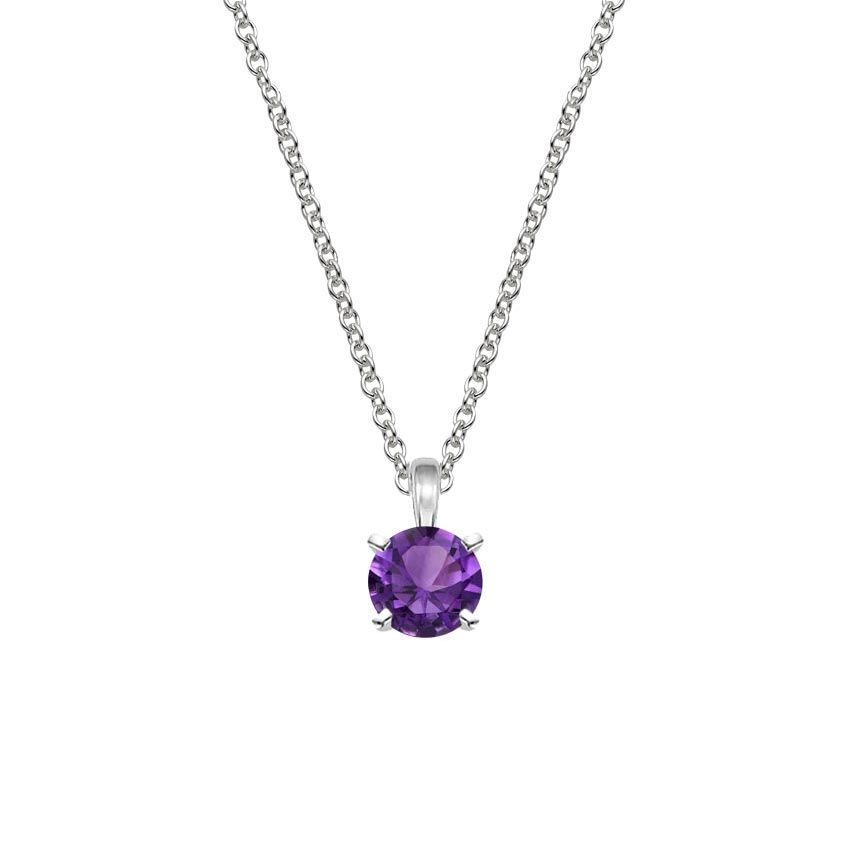 Four-Prong Amethyst Pendant - Silver
