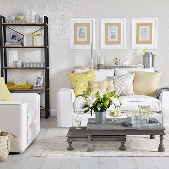 Dove Grey Living Room With Yellow Cushions | Living Room Decorating | Ideal  Home | Housetohome