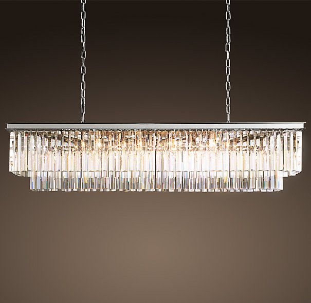 Rectangle Chandeliers: 1920s Odeon Glass Fringe Rectangular Chandelier Polished Nickel,Lighting