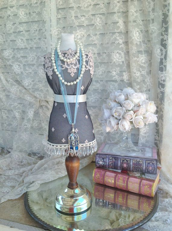 XL Great Gatsby inspired Dress Form Fabric Mannequin Mini Bust