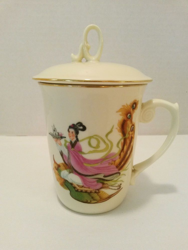 Asian lady image on china teacup