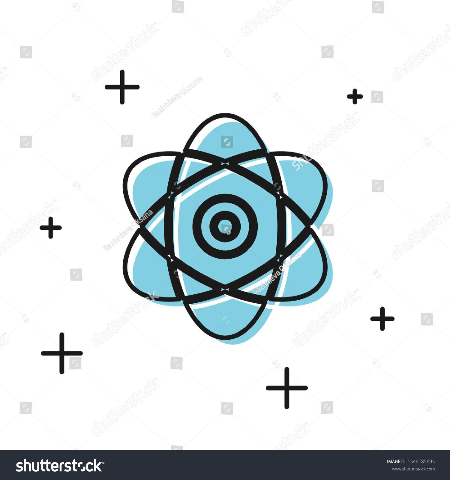 Black Atom Icon Isolated On White Background Symbol Of
