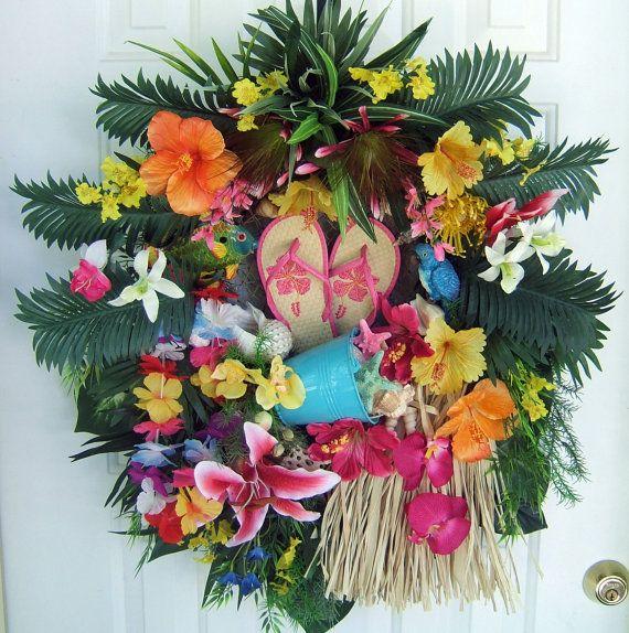 Etonnant Sale, Tropical Floral Wreath, Luau Wreath, Door Wreath, Summer Wreath, Pool  Decor, Handmade Wreath Via Etsy