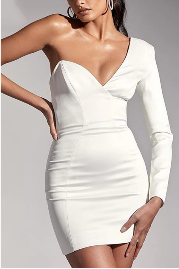 6eca7f7268 Asymmetrical long sleeve bodycon mini dress in 2019 | Fashion ...