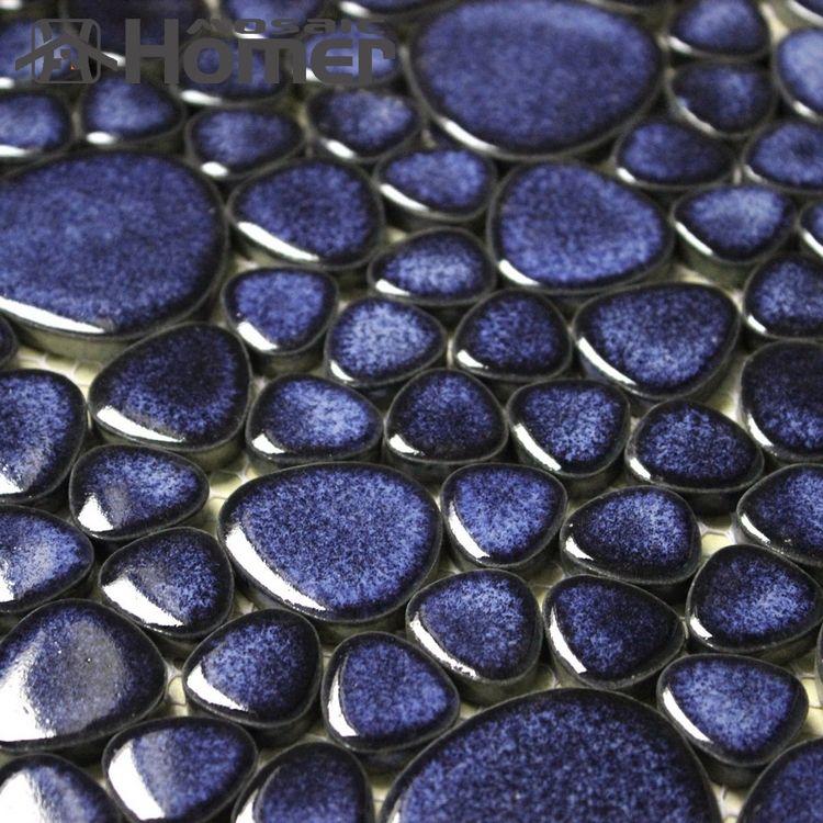 shipping free!! navy blue pebble ceramic mosaic tiles bathroom ...