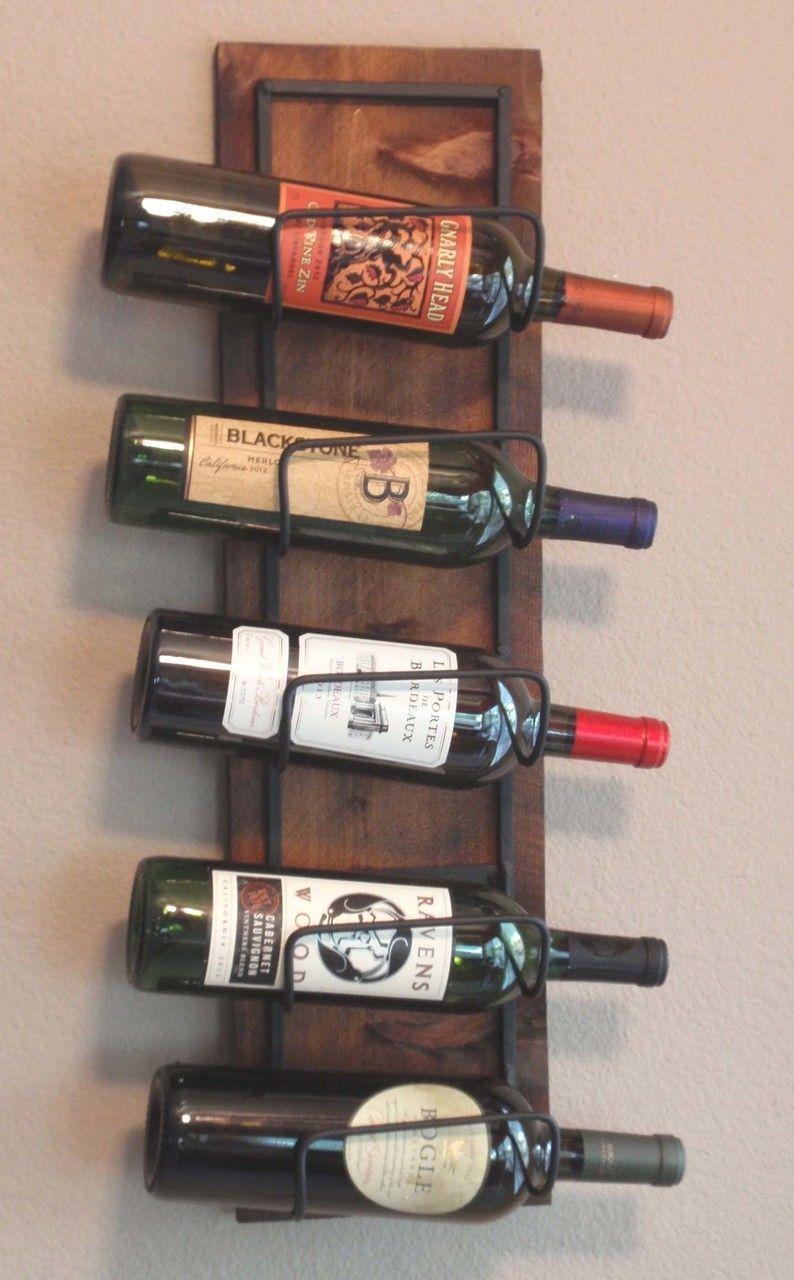 Rustic Wine Rack 5 Bottle Wood Wall Mounted Recycledwinebottles