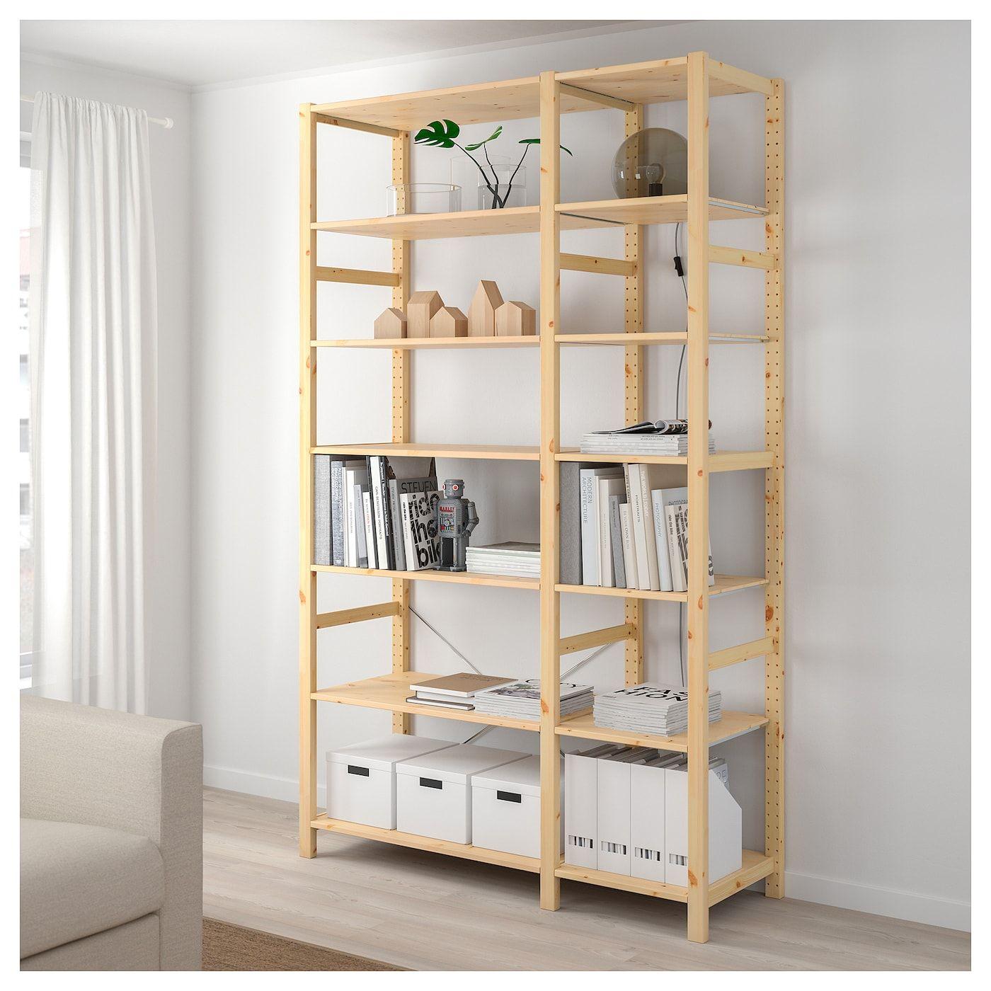 Ikea Scaffali Legno Ivar ivar 2 sezioni/ripiani - pino 134x50x226 cm | idee ikea