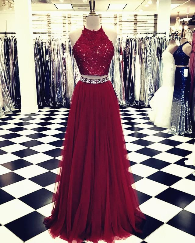 Lace Crop Top Tulle Prom Dresses Two Piece Evening Gowns Beaded Sashes 2