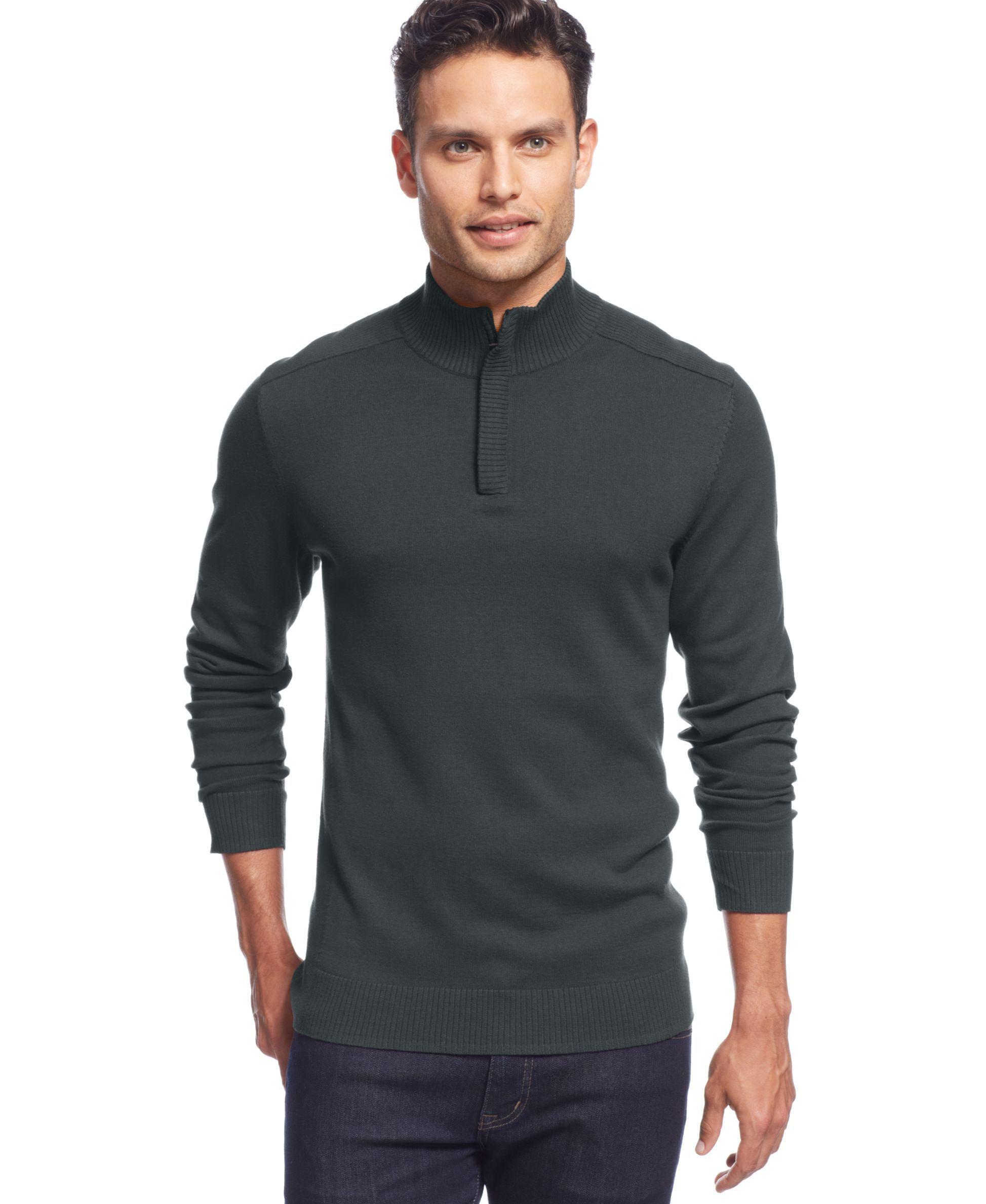 Alfani Red Solid Slim-Fit Quarter-Zip Sweater