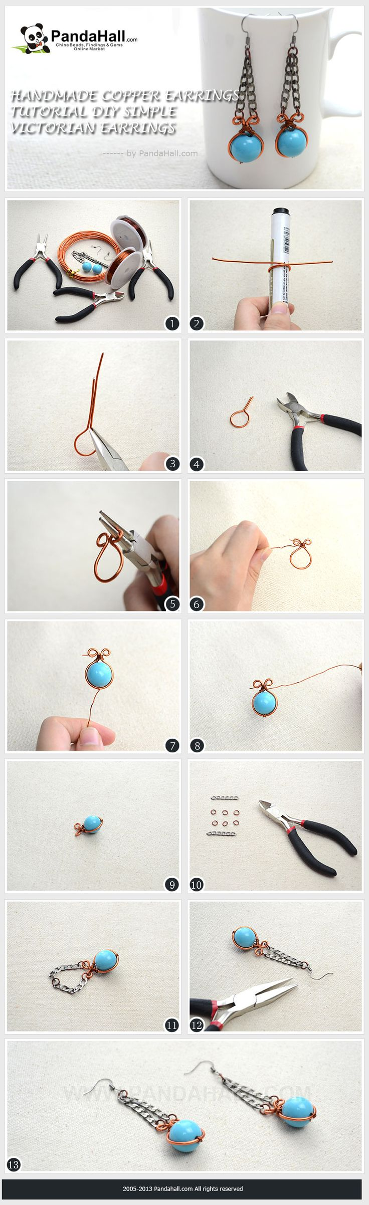 Handmade Copper Earrings tutorial - DIY Simple Victorian Earrings ...